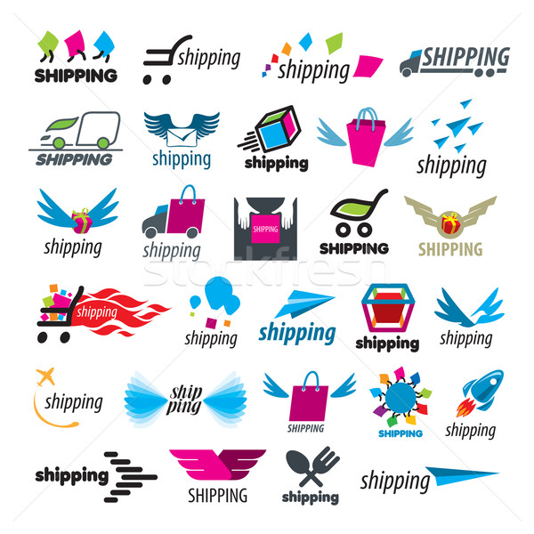 biggest collection of vector logos of shipping Stock photo © butenkow