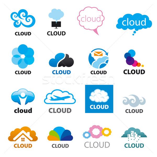 big set of vector logos cloud Stock photo © butenkow