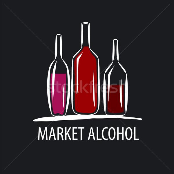vector logo wine bottles on a black background Stock photo © butenkow