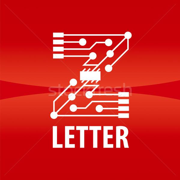 вектора логотип письмо z форме чипа красный Сток-фото © butenkow