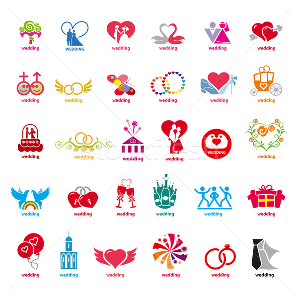 biggest collection of vector logos wedding  Stock photo © butenkow