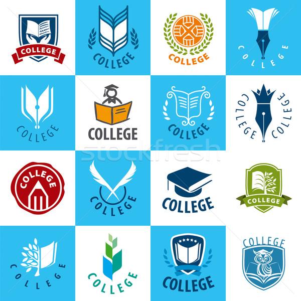Büyük ayarlamak vektör logolar kolej ağaç Stok fotoğraf © butenkow