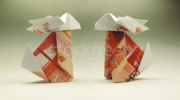 оригами Bunny бумаги бизнеса деньги дизайна Сток-фото © butenkow
