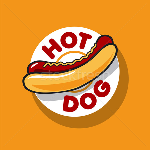 Vector logo hot dog fast food ontwerp diner Stockfoto © butenkow