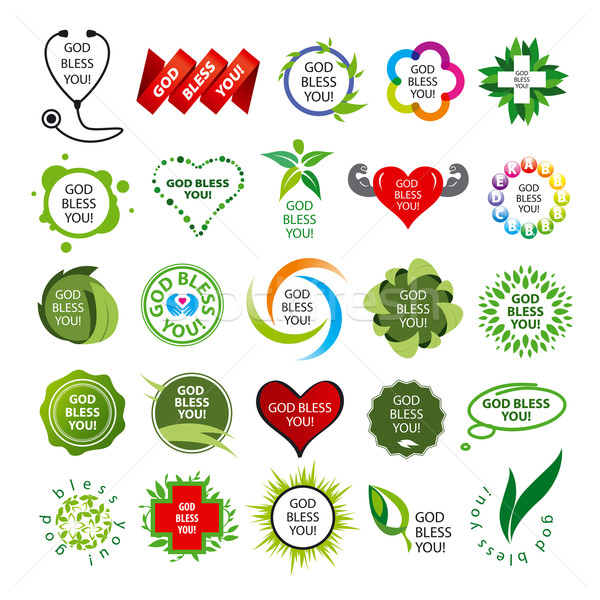 biggest collection of vector logos natural health Stock photo © butenkow