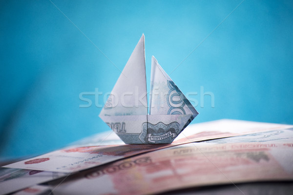 Nave origami soldi business banca Foto d'archivio © butenkow