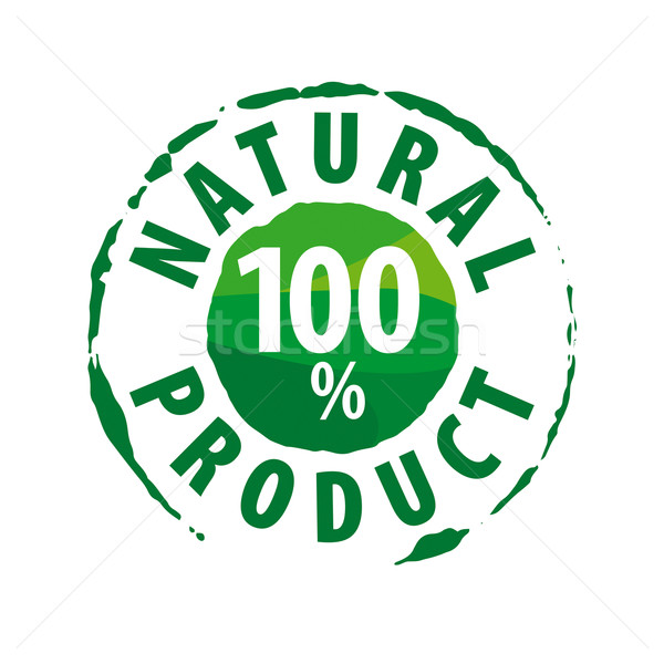 Round vector logo for 100% natural products Stock photo © butenkow
