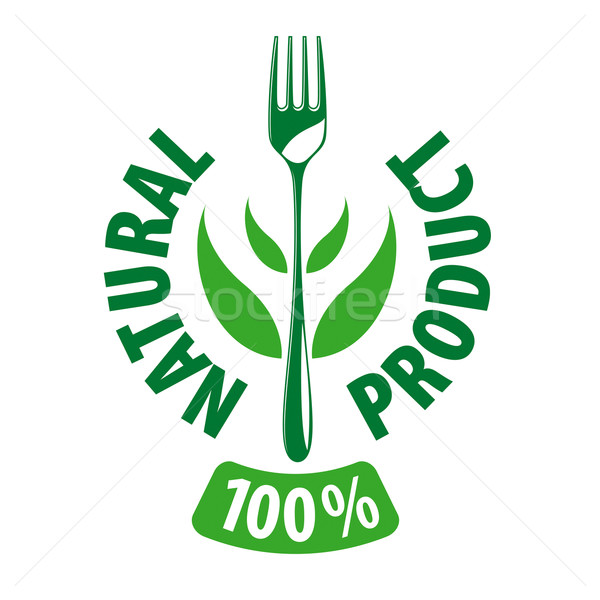 vector logo fork and leaves for natural products Stock photo © butenkow