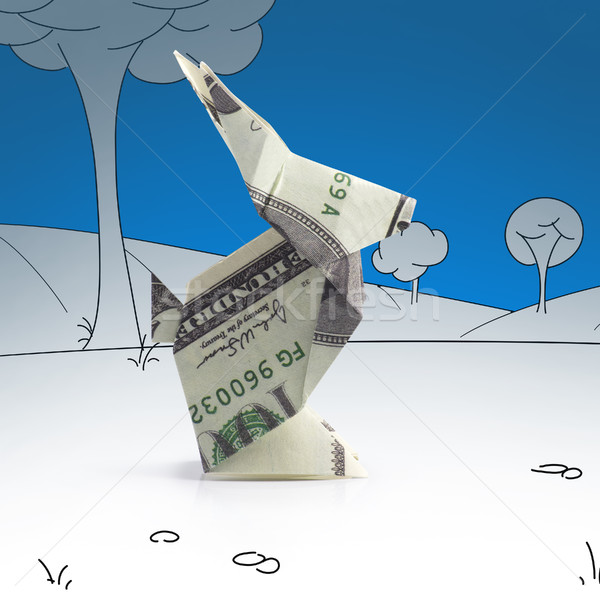 оригами заяц банкнота пейзаж бумаги Сток-фото © butenkow