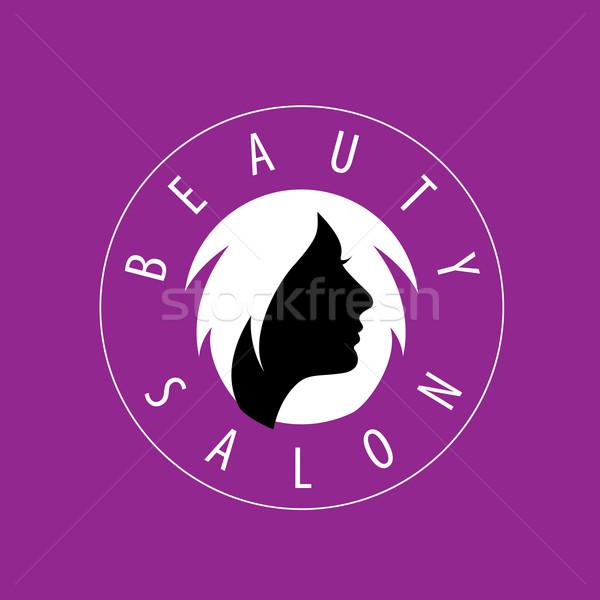 Vector logo schoonheid vrouwelijke gezicht salon Stockfoto © butenkow