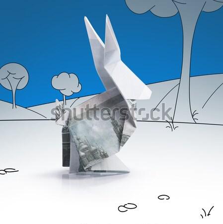 Origami haas bankbiljetten witte papier abstract Stockfoto © butenkow