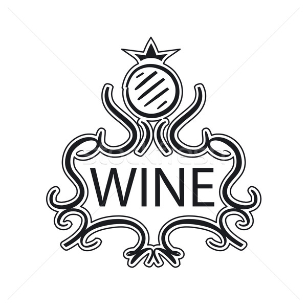 ornate vector logo with crown and cask wine Stock photo © butenkow
