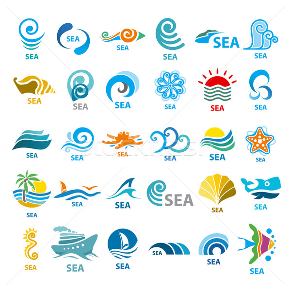 Big collection of vector logos sea  Stock photo © butenkow