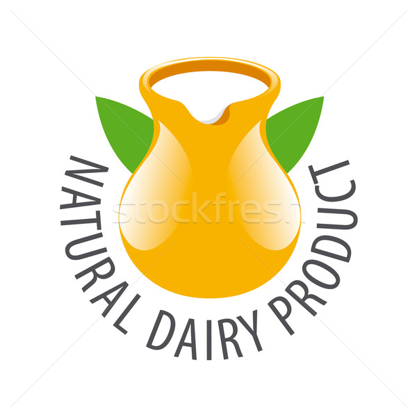 vector logo earthenware jug with milk Stock photo © butenkow