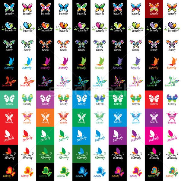 Vektor pillangó logo logoterv minta pillangók Stock fotó © butenkow
