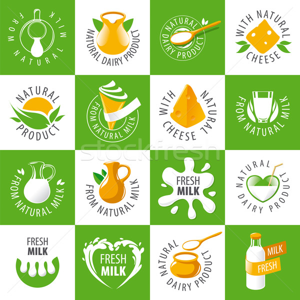 large set of vector logos dairy products Stock photo © butenkow