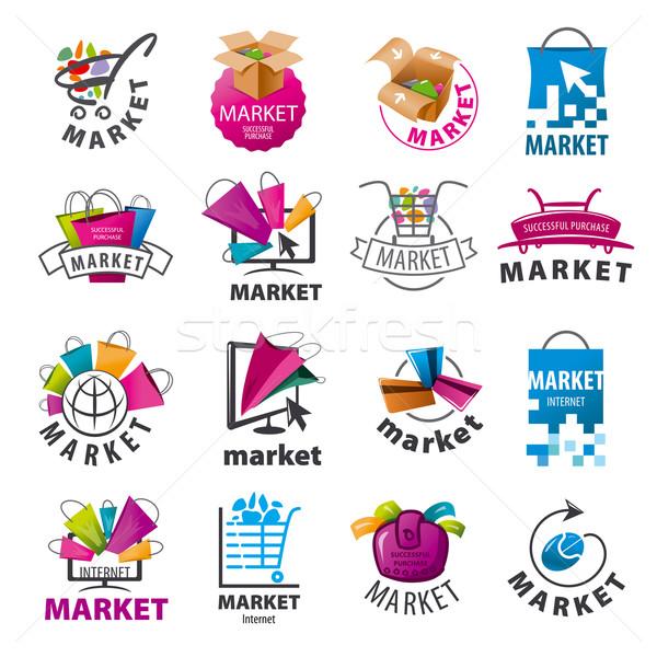 Сток-фото: коллекция · вектора · Логотипы · рынке · дизайна · технологий