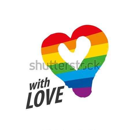 Сток-фото: логотип · сердце · радуга · дизайна · гей · лесбиянок