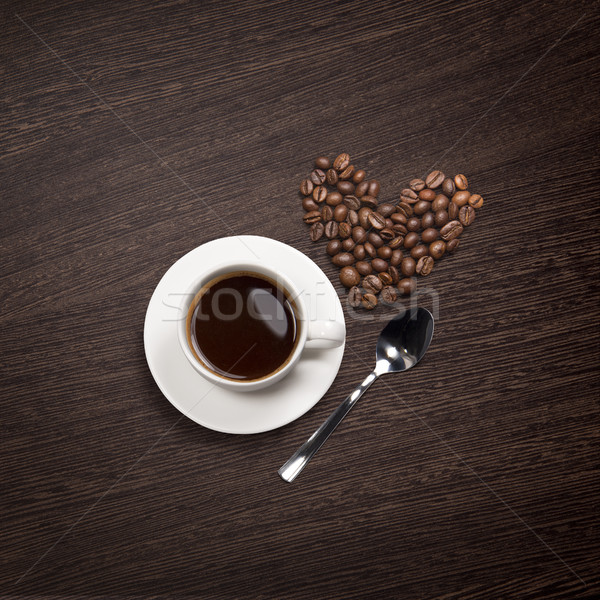 coffee attributes on a wooden background Stock photo © butenkow