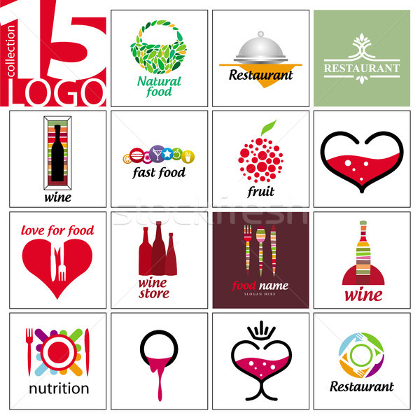 collection of vector logos of restaurants and cafes Stock photo © butenkow