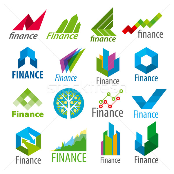Groot ingesteld vector logos financieren computer Stockfoto © butenkow