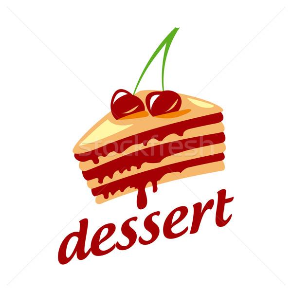 Vetor logotipo bolo dois cerejas chocolate Foto stock © butenkow