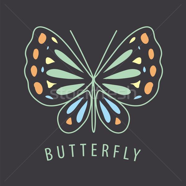 Foto stock: Vetor · logotipo · borboleta · padrões · escuro · assinar