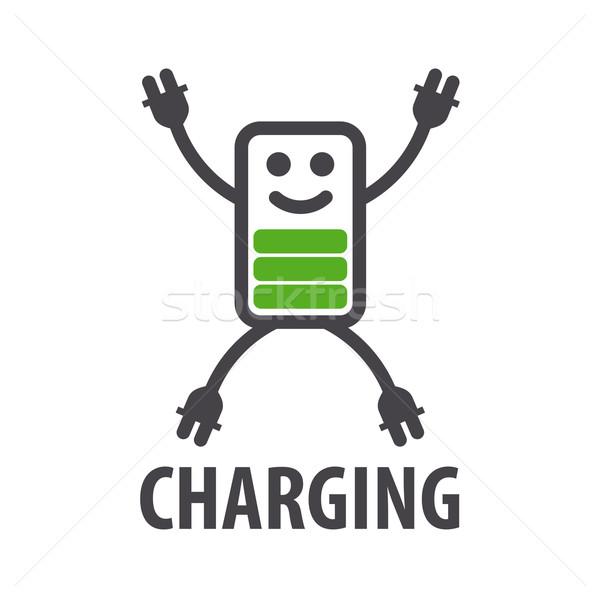 Vector logo vorm batterij karakter man Stockfoto © butenkow