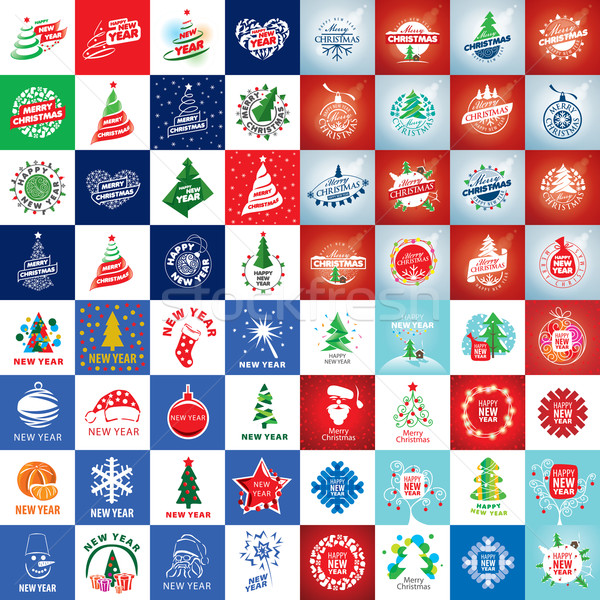 set of vector logo Christmas Stock photo © butenkow