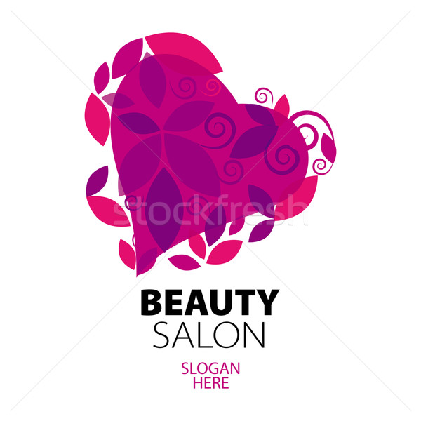 logo heart of red leaves to the beauty salon Stock photo © butenkow