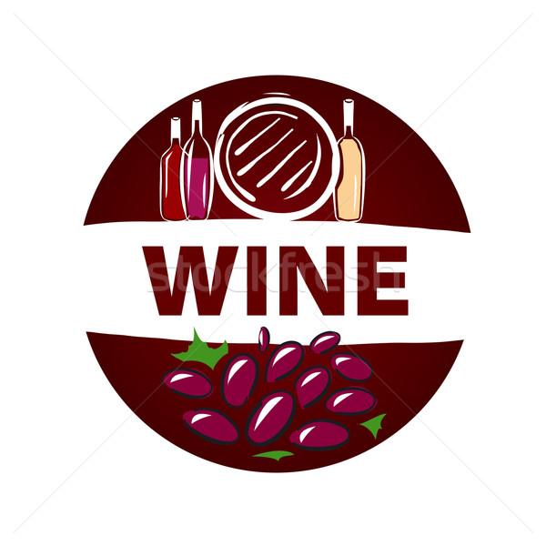 Round vector logo barrel and bottle of wine Stock photo © butenkow