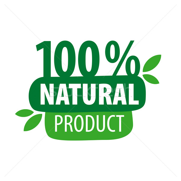 Green vector logo for 100% natural products Stock photo © butenkow