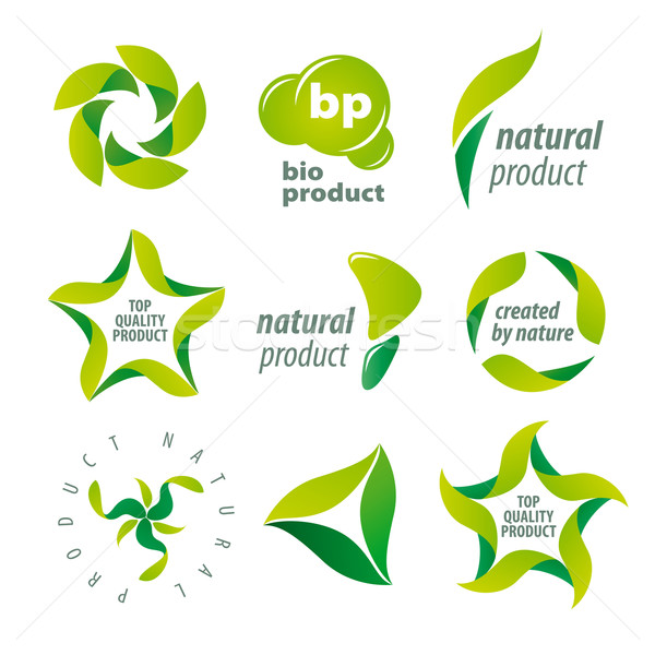set of vector logos for organic natural products Stock photo © butenkow