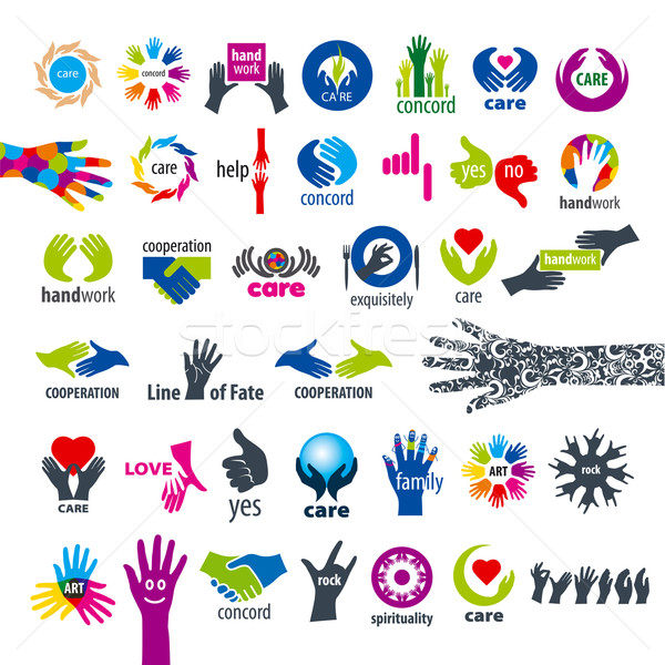 biggest collection of vector logos hands  Stock photo © butenkow