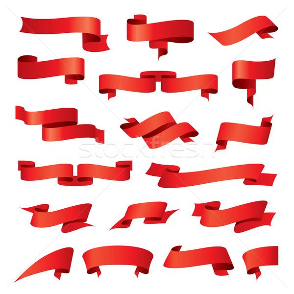 Gyűjtemény vektor piros szalagok keret felirat Stock fotó © butenkow
