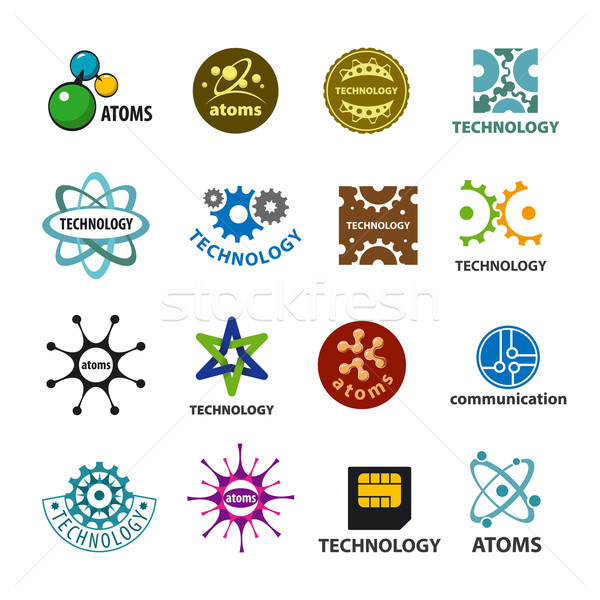 biggest collection of vector logos technology and atoms Stock photo © butenkow