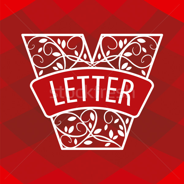 Logo letter V with a vegetative ornament on a red background Stock photo © butenkow