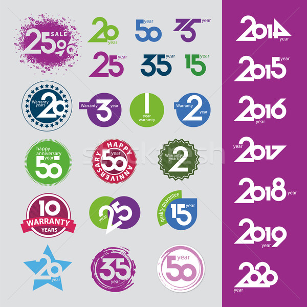 collection of vector icons with numbers dates anniversaries Stock photo © butenkow