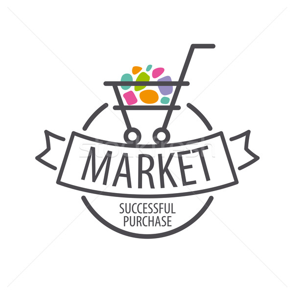 Round vector logo shopping cart Stock photo © butenkow