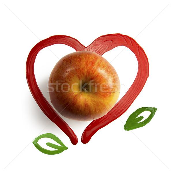 Peint rouge coeur brosse texture Photo stock © butenkow