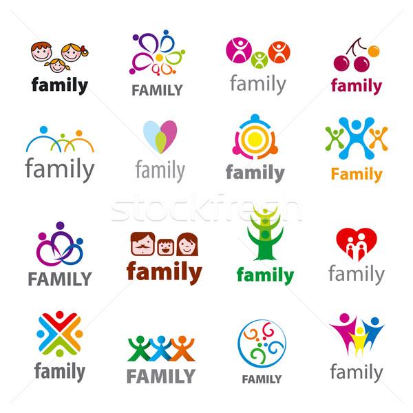 Stok fotoğraf: Büyük · ayarlamak · vektör · logolar · aile · çiçek