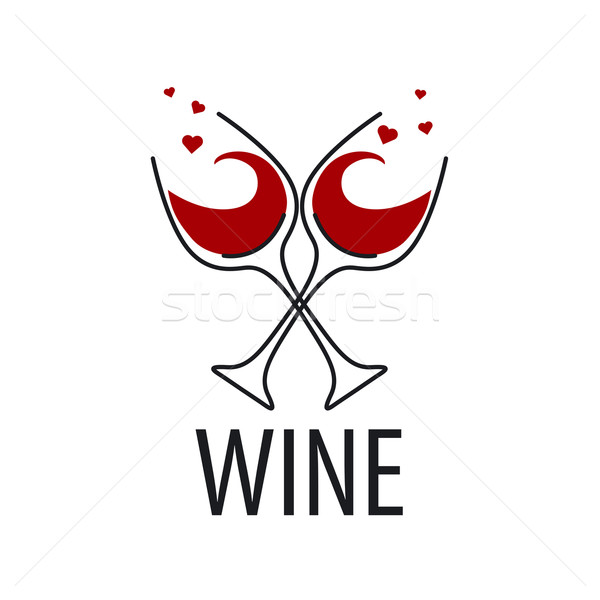 Stock photo: vector logo glasses of red wine with hearts