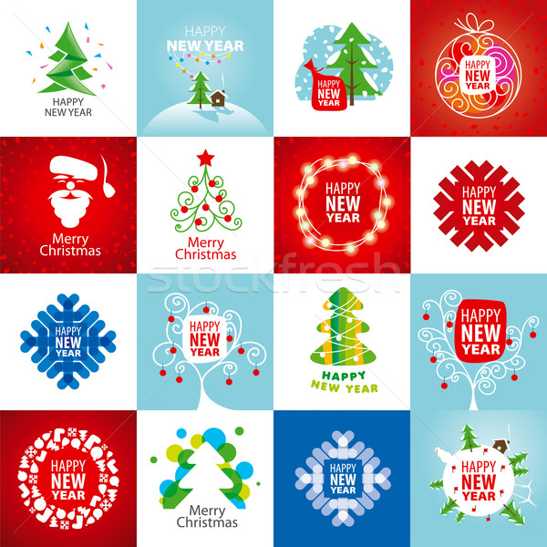 large set of vector logos for the new year Stock photo © butenkow