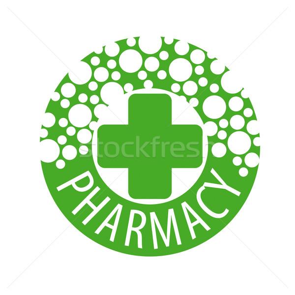 Round vector logo with pills to pharmacies Stock photo © butenkow