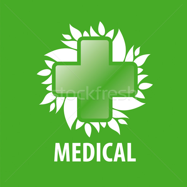 Stok fotoğraf: Vektör · logo · yeşil · çapraz · yaprakları