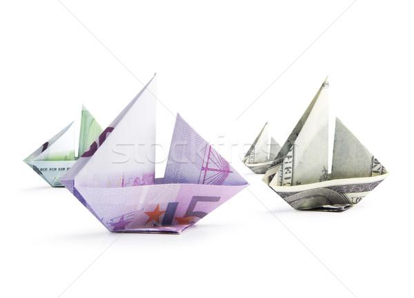 Schip bankbiljetten origami witte business bank Stockfoto © butenkow
