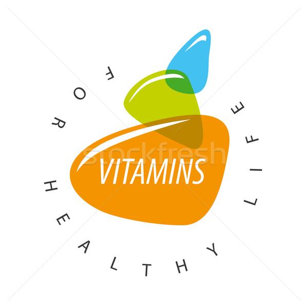Resumen vector logo vitaminas alimentos Foto stock © butenkow