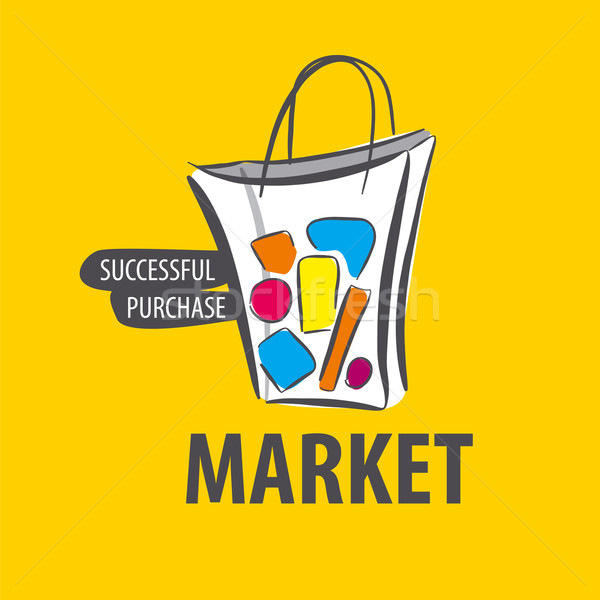 vector logo painted bag on a yellow background Stock photo © butenkow