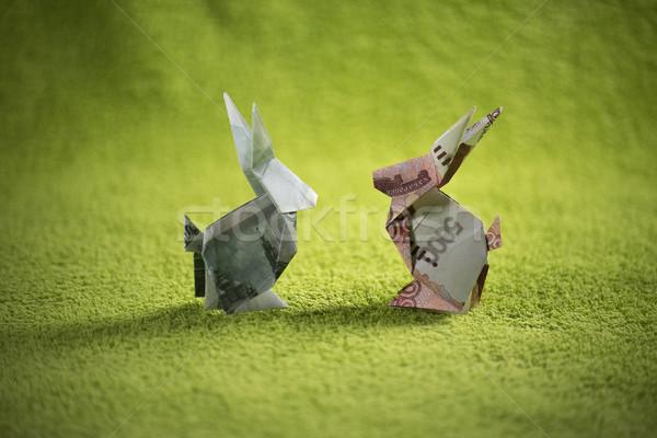 Zdjęcia stock: Origami · zając · zielone · papieru · streszczenie