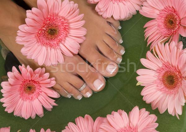 Foto d'archivio: Trattamento · termale · elegante · rosa · fiore · acqua · piedi